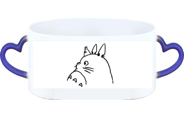 日系宫崎骏动漫迷手绘素描简笔画 忆童年 情侣心形把变色杯