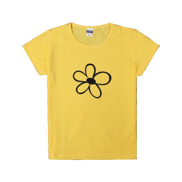 简笔画小花 时尚童装修身T恤