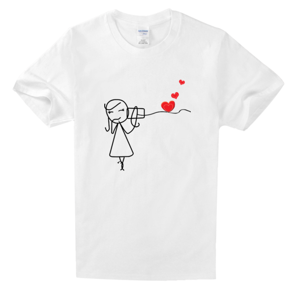 简笔画情侣女舒适白色T恤