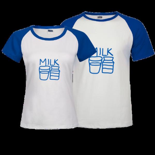食物简笔画 牛奶 时尚插肩情侣装T恤