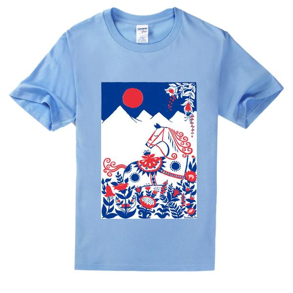 简笔画 马高档彩色T恤