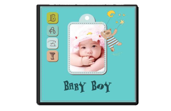 baby boy可爱男宝宝专属相册_简约可爱宝宝成长日记-8x8单面银盐水晶照片书21p