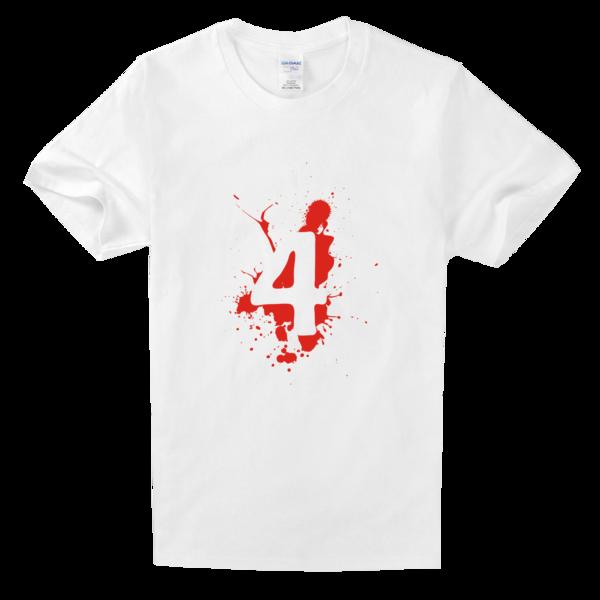 四班班服幸运数字4舒适白色t恤图片