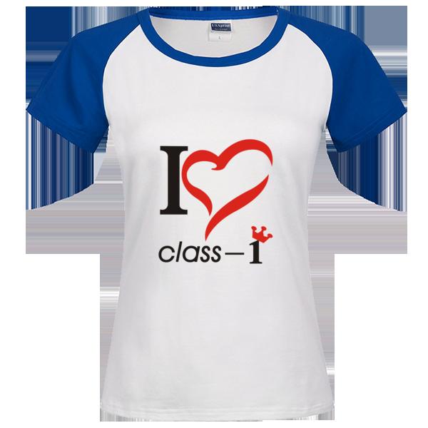 个性班服我爱1班时尚插肩纯棉短袖t恤女款图片