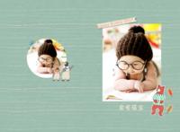 卡通小插画宝贝成长纪念册-A3硬壳蝴蝶装照片书32p