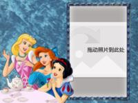 迪士尼公主系列--三公主(蓝色背景)-16寸木版画横款
