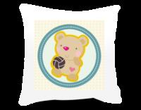 静静的玩球球的小熊-点点斑纹背景色-方形个性抱枕
