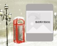 冬日电话亭-10寸木版画横款