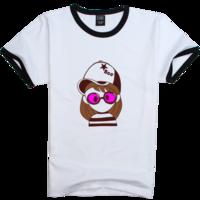 可爱Q版女孩(紫版)时尚撞色纯棉T恤