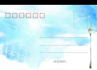 淡蓝的思念-18张正方形留白明信片(横款)