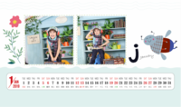 小清新卡通花儿&蜜蜂&字母的故事-定制全年山峰实木底座卡片台历【双面】