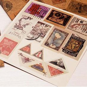 复古邮票贴纸