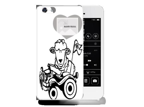庄生黑白卡通简笔画-苹果5手机壳