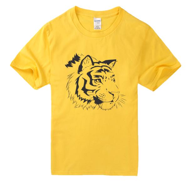 老虎素描高档彩色t恤