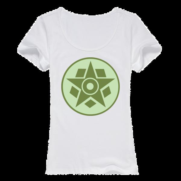 麦田圈图案之五边形与五角星女款纯棉白色T恤