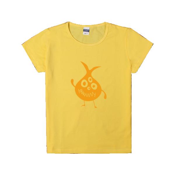 简笔画小怪兽系列-洋葱头-时尚童装修身t恤