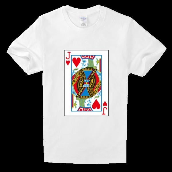 扑克牌红桃j高档白色t恤