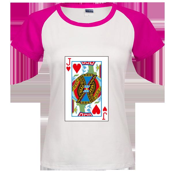 扑克牌红桃j时尚插肩纯棉短袖t恤女款