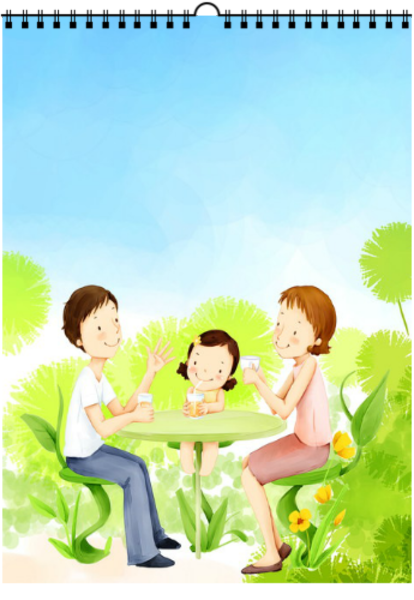 幸福快乐一家人-a3挂历图片