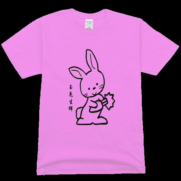 十二生肖简笔画玉兔舒适彩色t恤