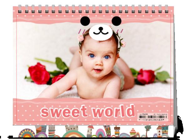 微笑宝宝最可爱--可爱 亲子 宝贝-(微商)8寸单面横款台历