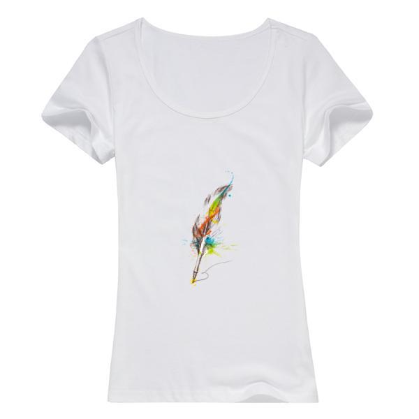 羽毛图案女款纯棉白色T恤