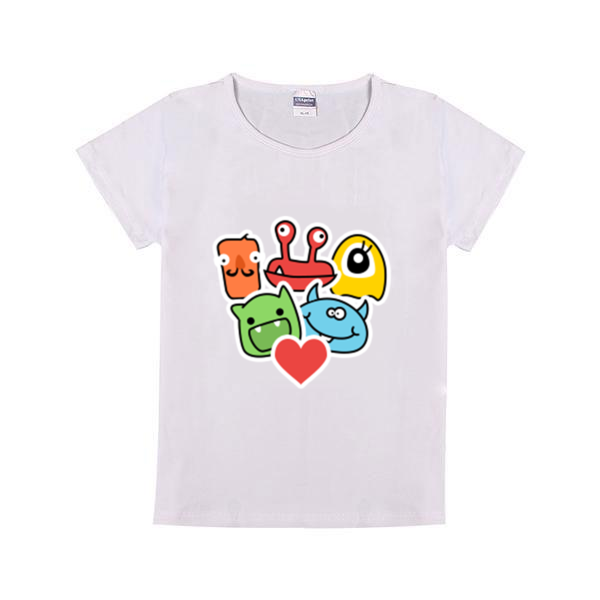 卡通小怪物可爱活泼童装纯棉白色T恤