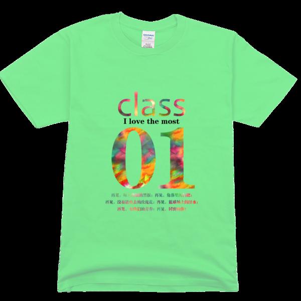 1班班服,水彩风高档彩色t恤图片