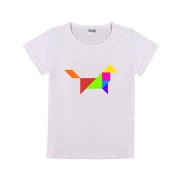 七巧板小狗童装纯棉白色T恤