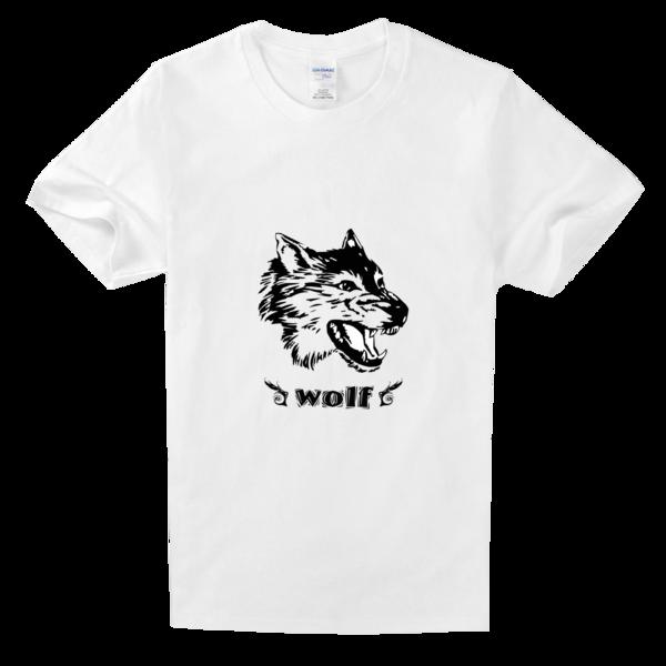 霸气酷狼头传说舒适白色t恤图片