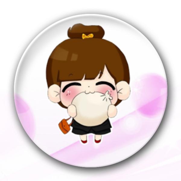可爱小吃货丸子头女生-创意冰箱贴-自由DIY-创