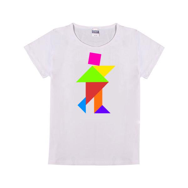七巧板行走童装纯棉白色T恤