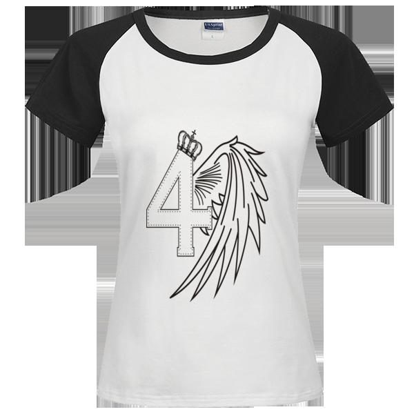 四班班服:皇冠四班时尚插肩纯棉短袖t恤女款图片