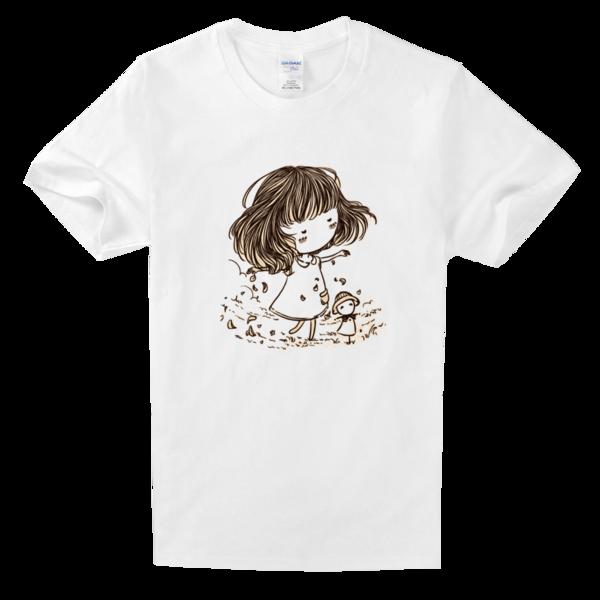 呆萌小美女手绘舒适白色t恤