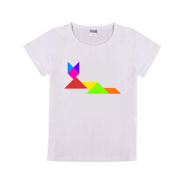 七巧板小狐狸童装纯棉白色T恤