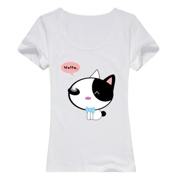 卡通可爱猫咪萌萌哒母版-女款纯棉白色T恤