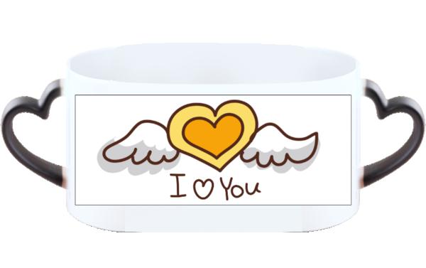 iloveyou 浪漫爱情可爱卡通桃心-情侣心形把变色杯图片