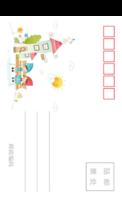 儿童可爱潮流插画系列彩色童年的美好记忆1-全景明信片(竖款)套装