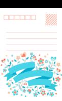 清新小花通用明信片-全景明信片(竖款)套装