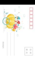 儿童可爱潮流插画彩色童年的美好记忆3-全景明信片(竖款)套装