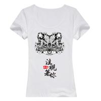个性狐狸头女款纯棉白色T恤