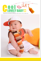 酷宝满月了 可爱的宝贝 lovely baby-12X8寸木版画竖款