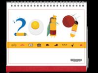 可爱卡通2019#-10寸单面印刷台历