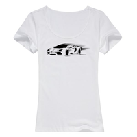 超酷跑车女款纯棉白色T恤