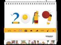 可爱卡通2019#-8寸单面印刷台历