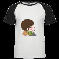 情侣T男生款时尚插肩纯棉短袖T恤男款
