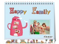 开心一家人-亲子全家福-8寸双面印刷台历