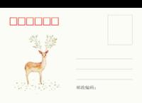 文艺小清新插画麋鹿-全景明信片(横款)套装