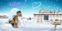 冬季时尚蓝色童话手绘唯美小清新儿童爱情照片书-方8寸Lucky book硬壳照片书30p