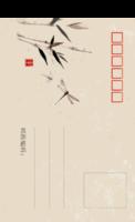 中国风-竹蜻蜓-全景明信片(竖款)套装
